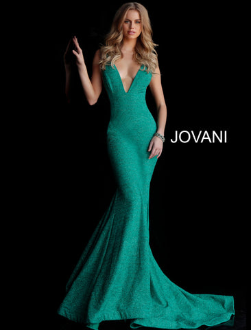 Jovani Fitted Plunging Neckline Gown
