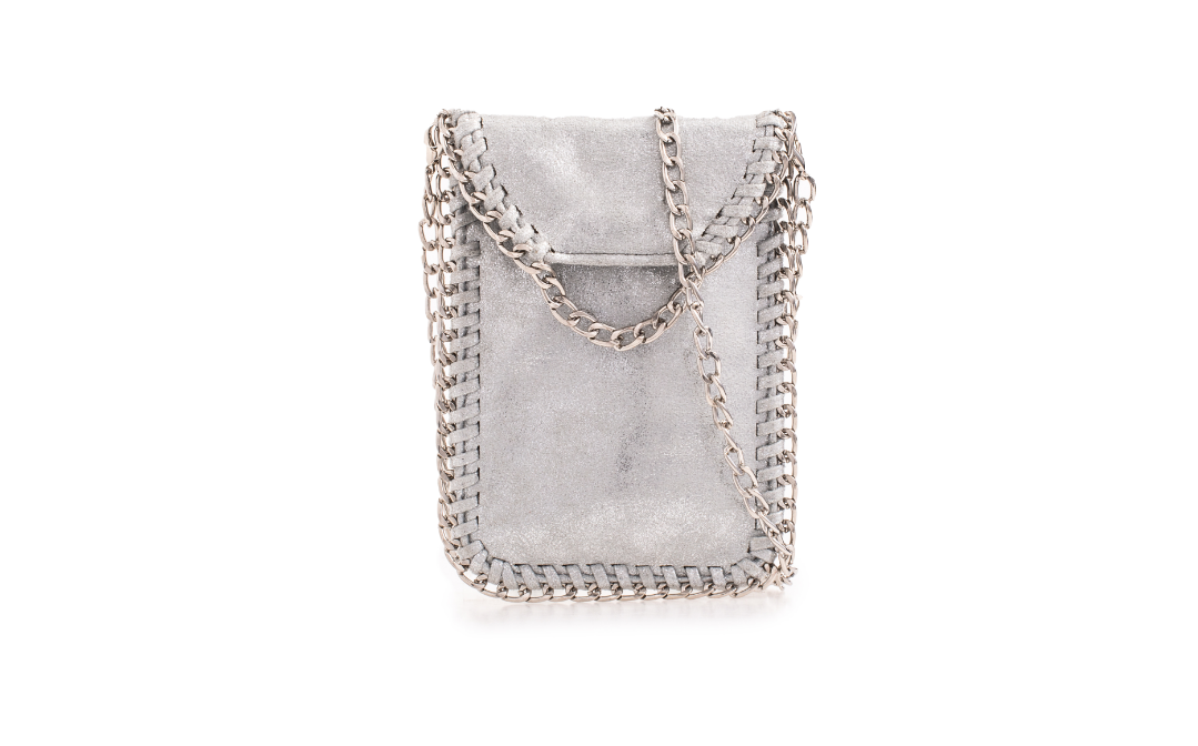 Suede Silver Effect Stella McCartney Style Bag - Gissings Boutique