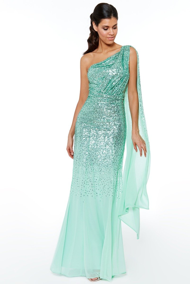 Mint One Shoulder Sequin & Chiffon Maxi Dress