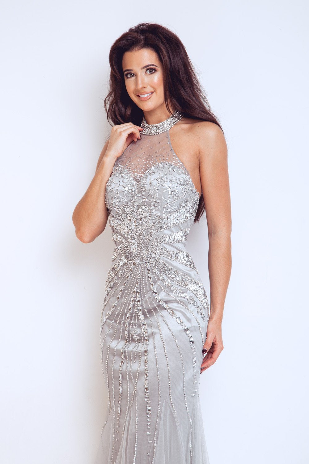 Frederica Silver Long Dress