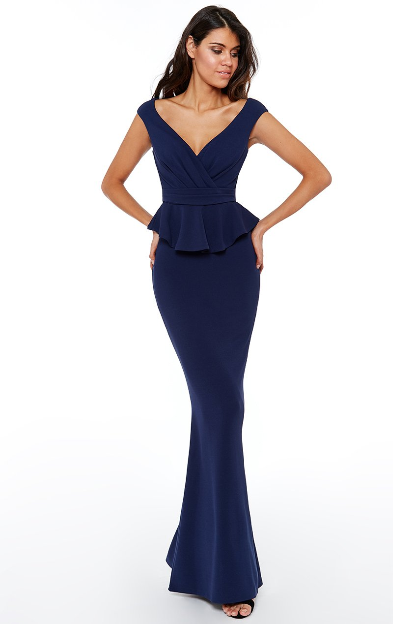 Navy Cross Over Pleated Peplum Gown - Gissings Boutique