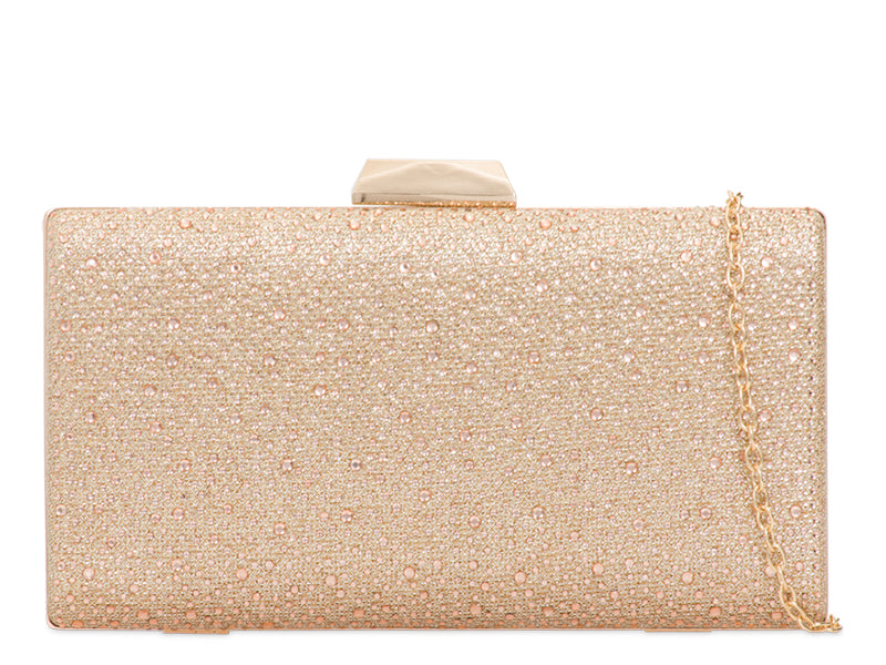 Champagne Crystal & Glitter Clutch Bag - Gissings Boutique