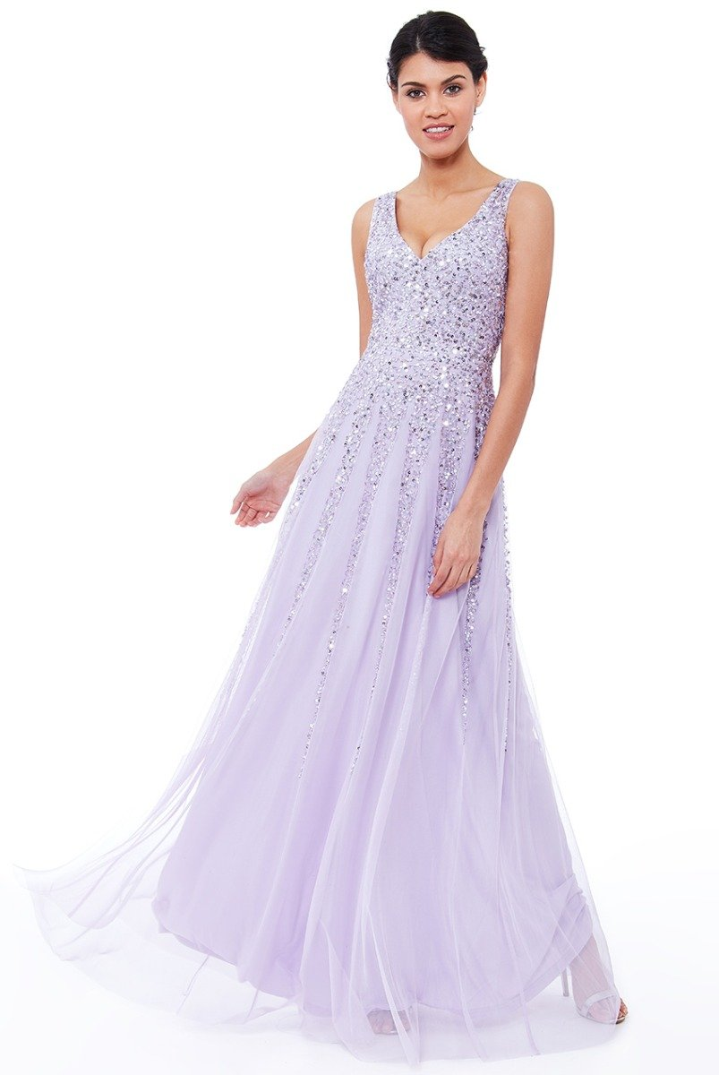 Lavender Sunray Sequin Maxi Dress