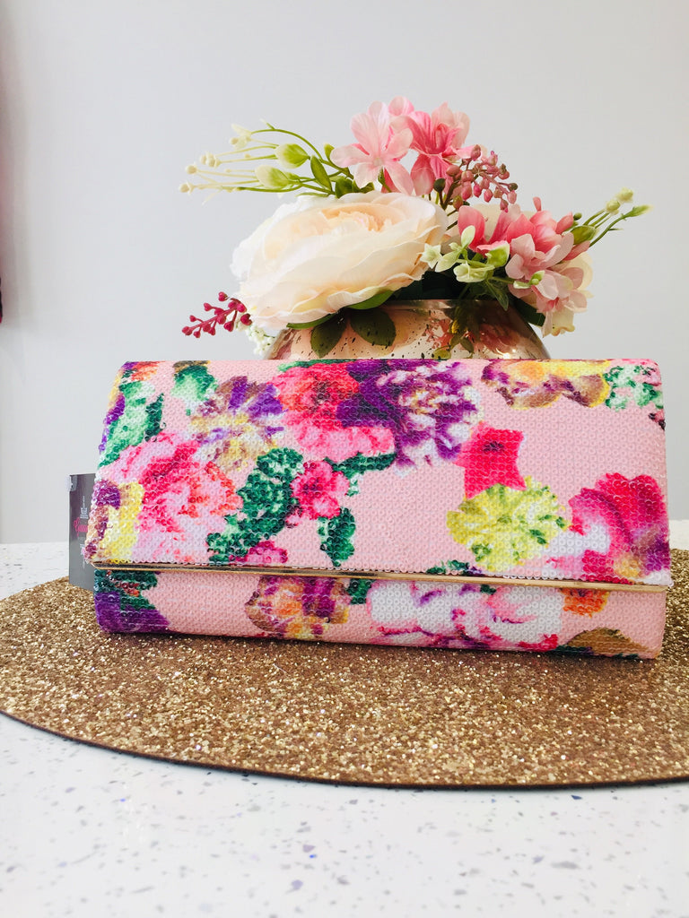 Floral Sequin Evening Bag - Gissings Boutique