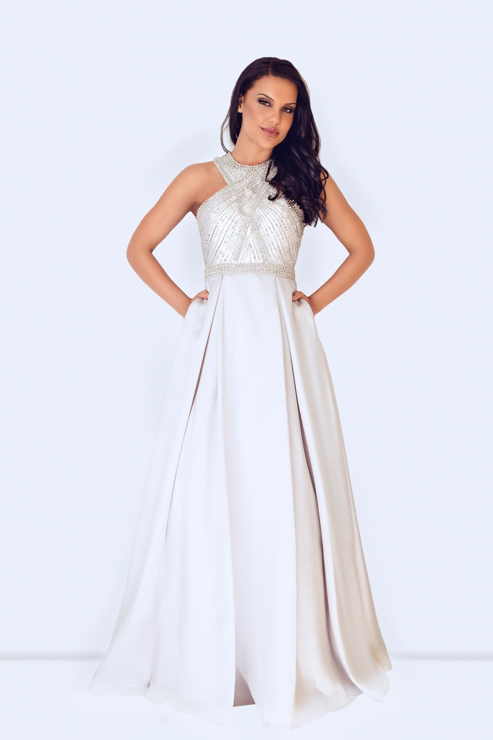 Sisika Silver Long Evening Gown