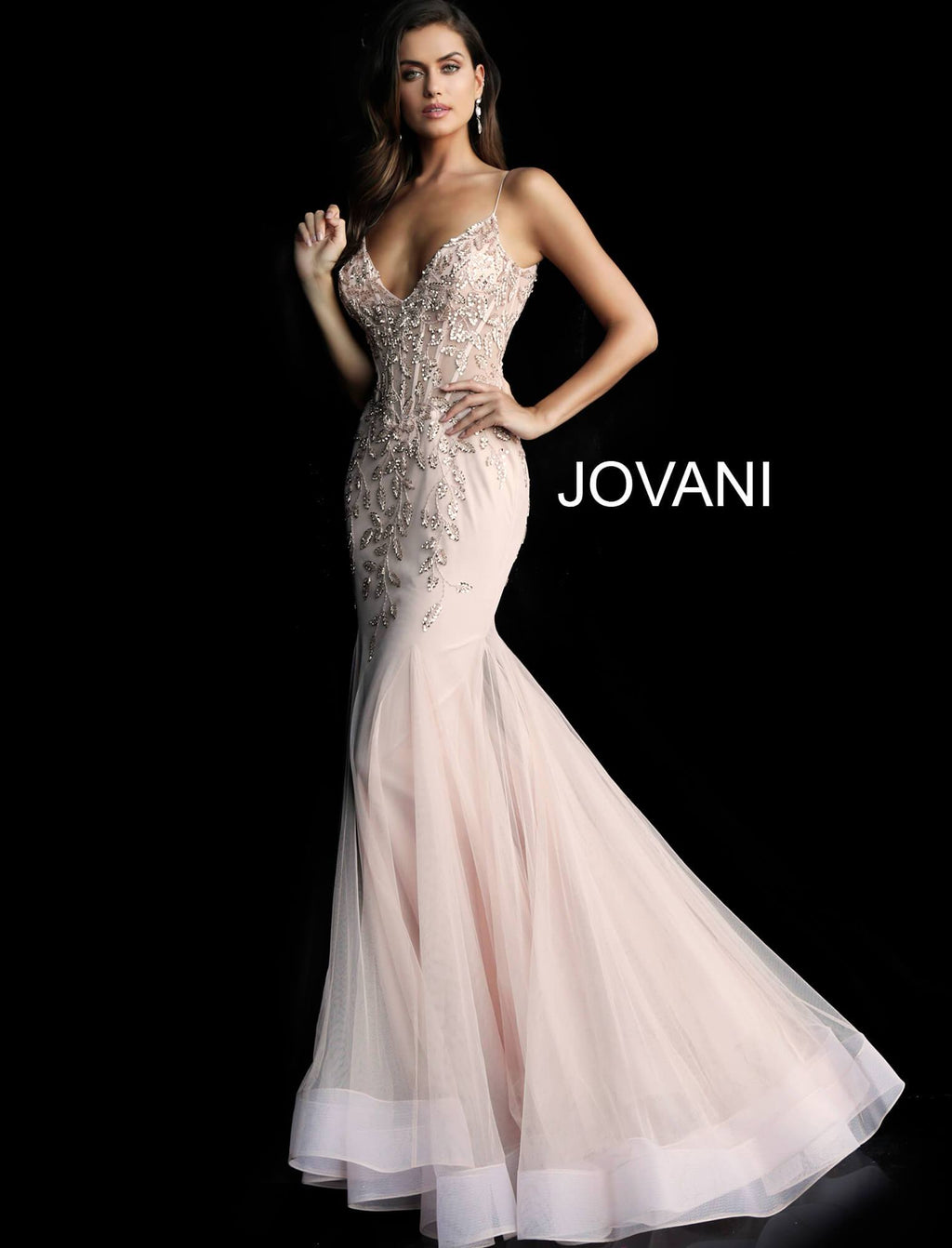 Jovani Blush Embellished Mermaid Gown