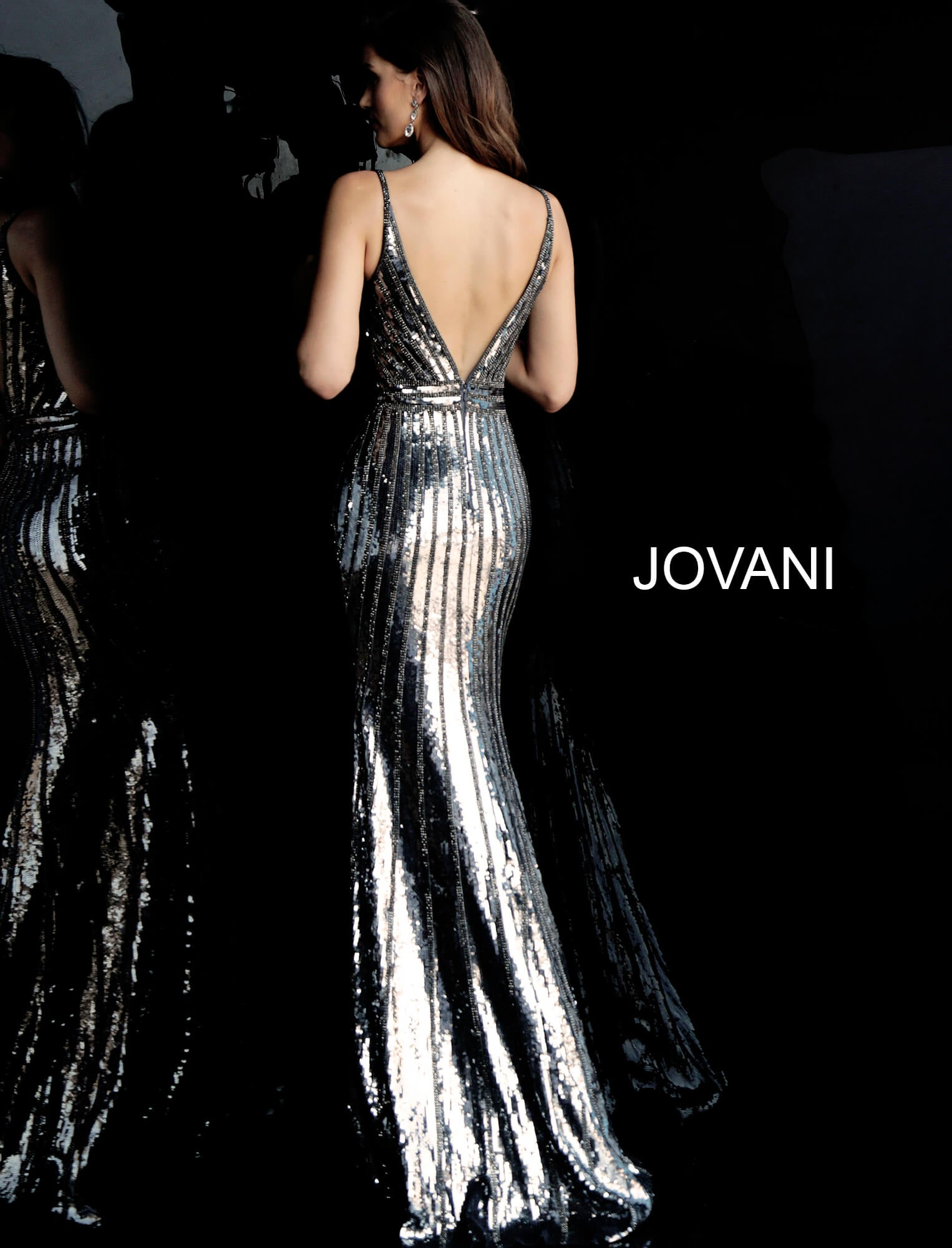 Jovani  Silver Beaded Gown - Gissings Boutique
