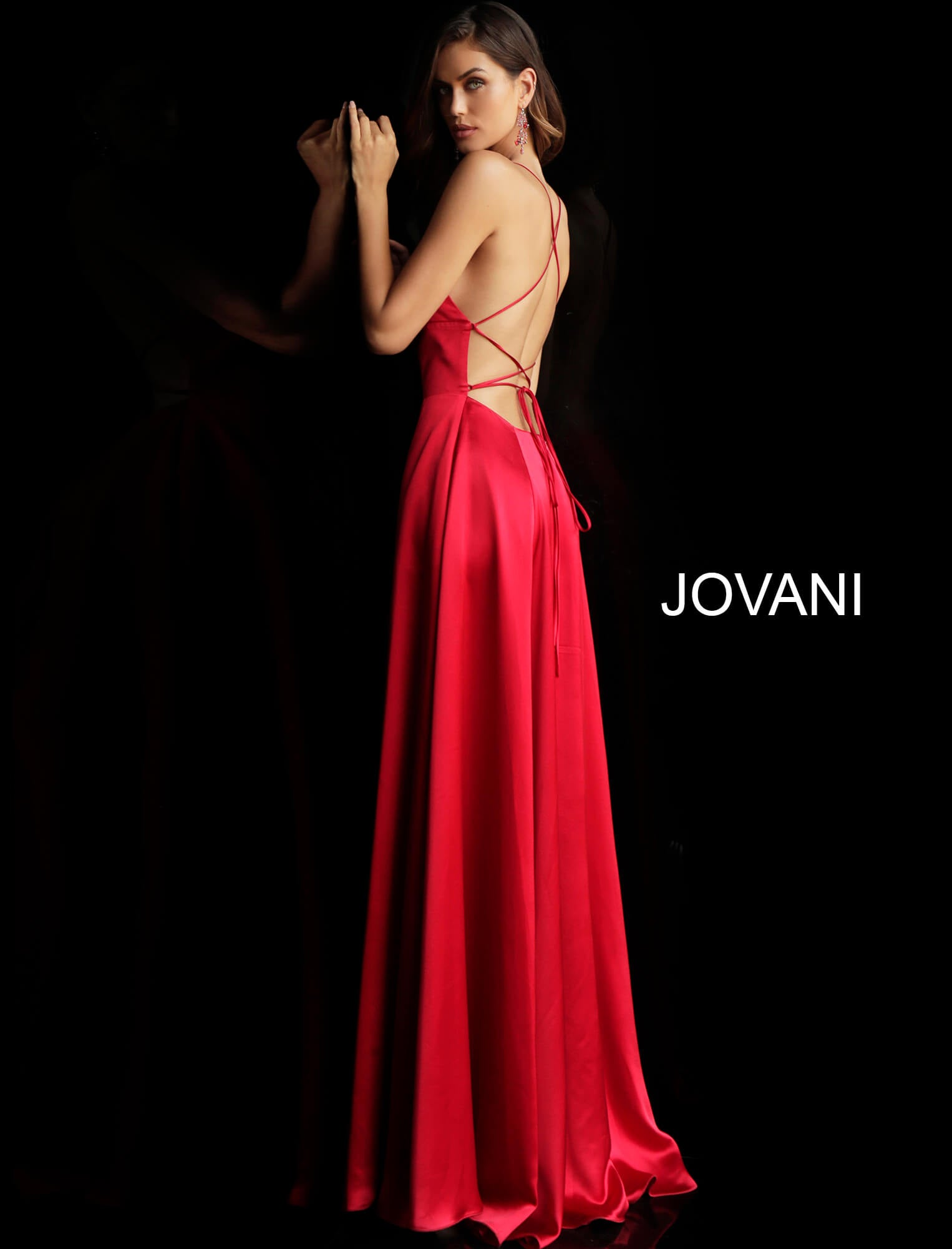 Jovani Red Satin Spaghetti Strap Gown