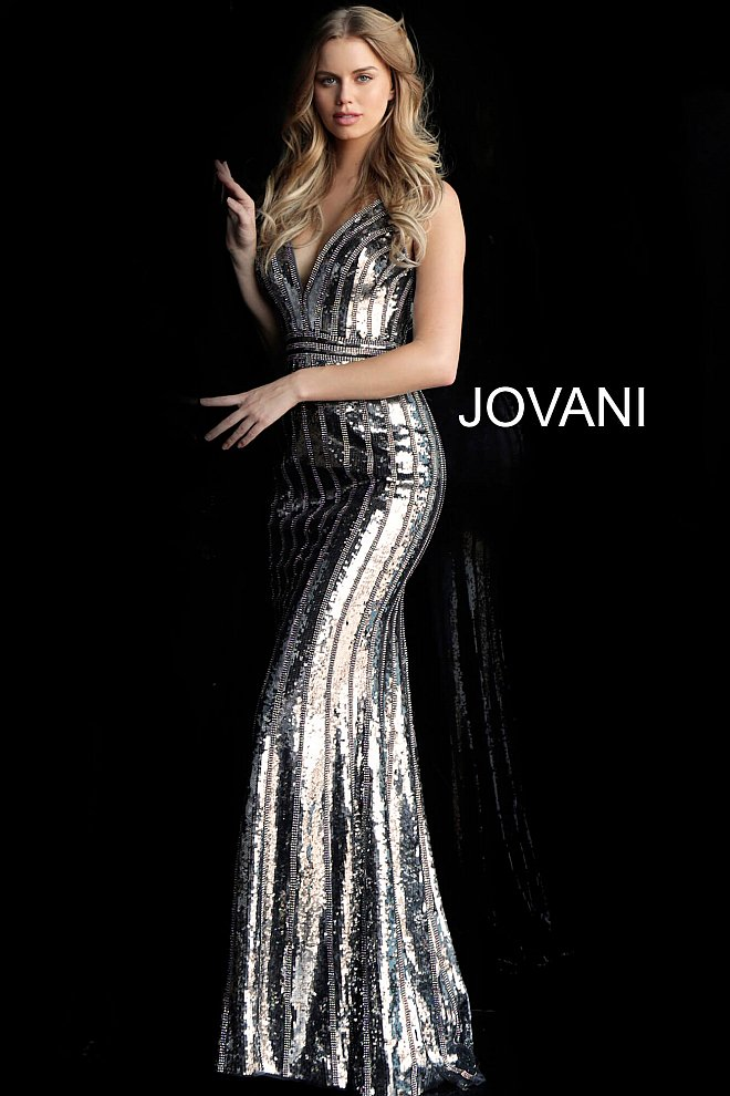 Jovani Gunmetal Beaded V Neck Prom Dress