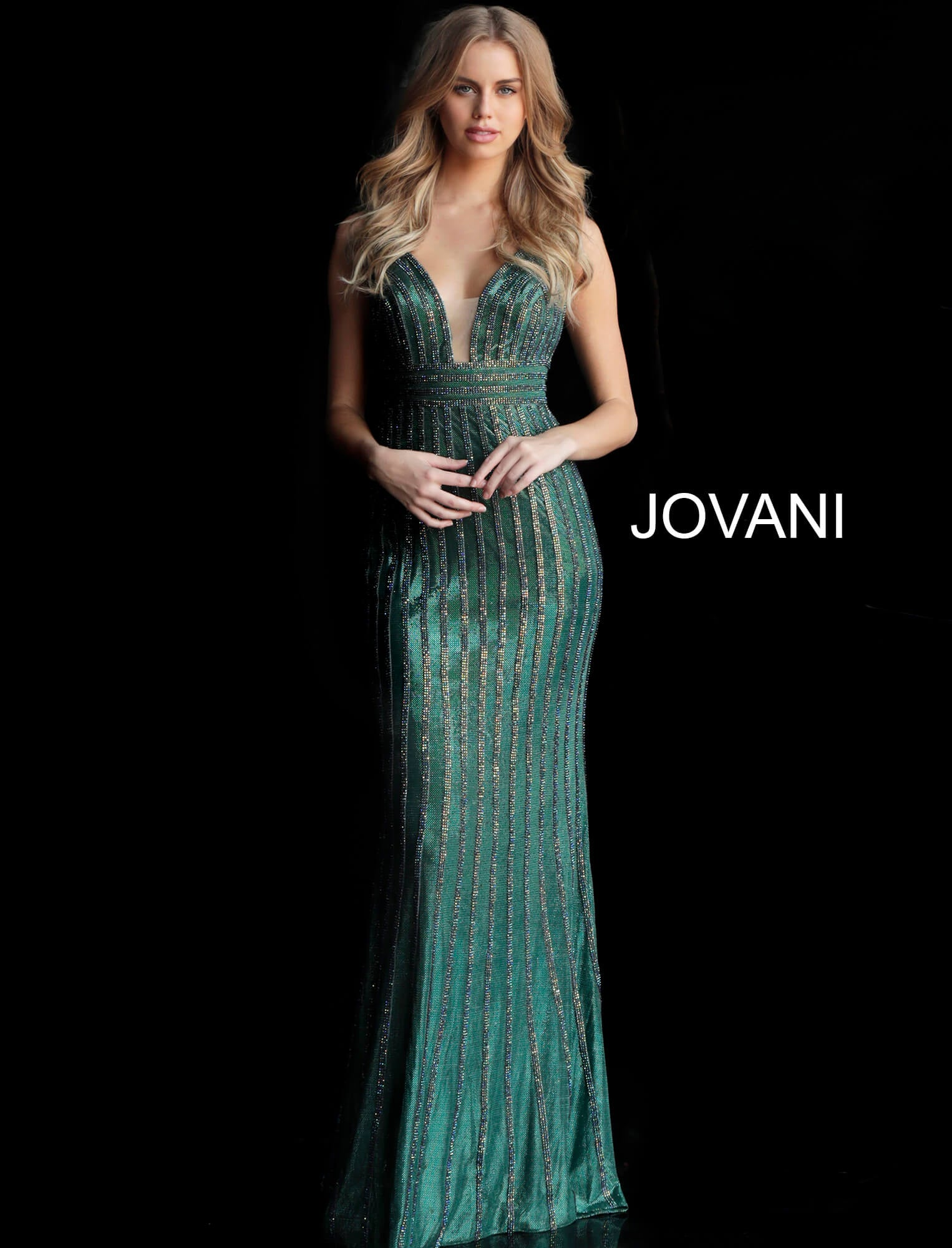 Jovani Green Beaded Gown