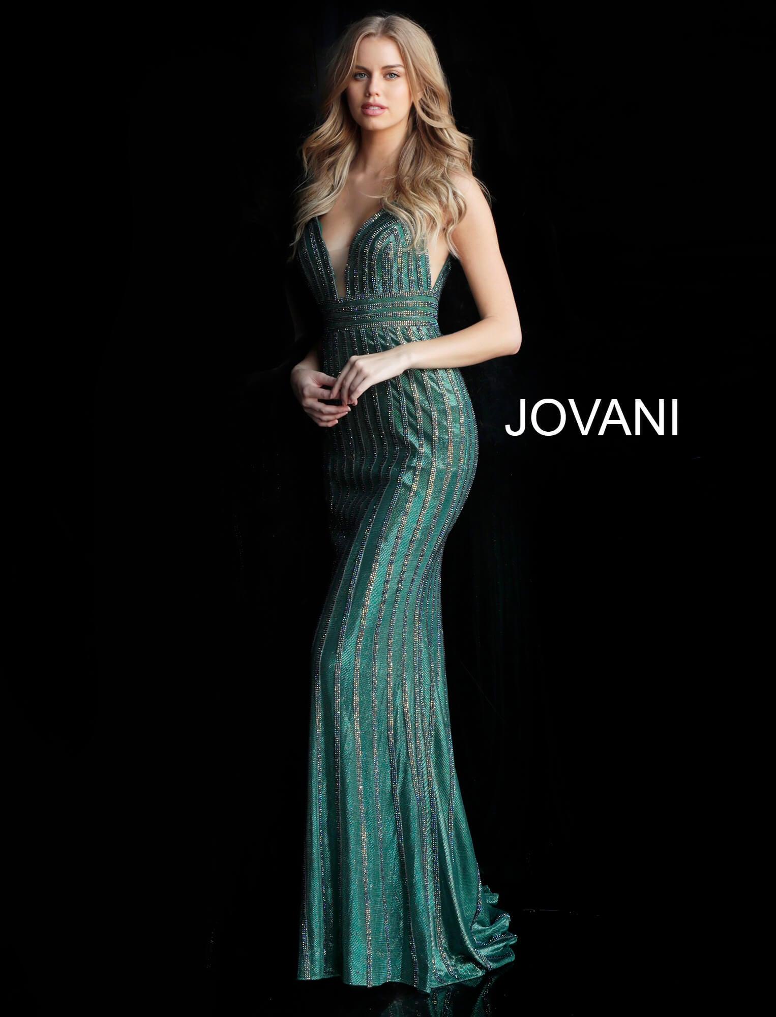 Jovani Green Beaded Gown - Gissings Boutique