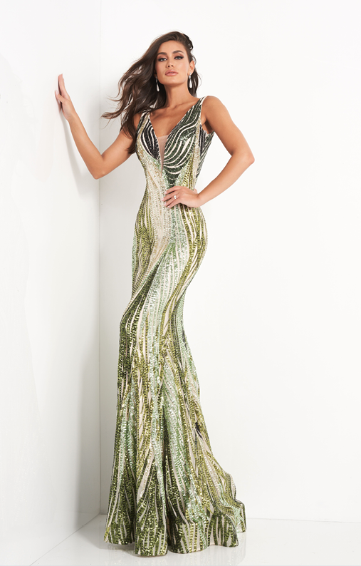 Jovani Green Sequin Embellished Plunging Neckline Prom Dress - Gissings Boutique