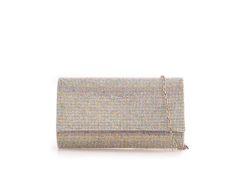 Silver Rainbow Diamanté Clutch Bag - Gissings Boutique