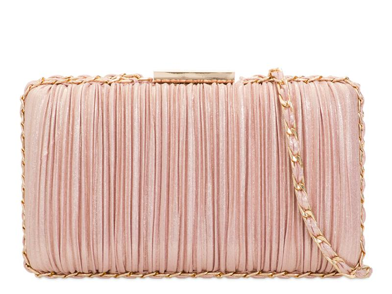 Rouched Satin Blush Pink Clutch Bag