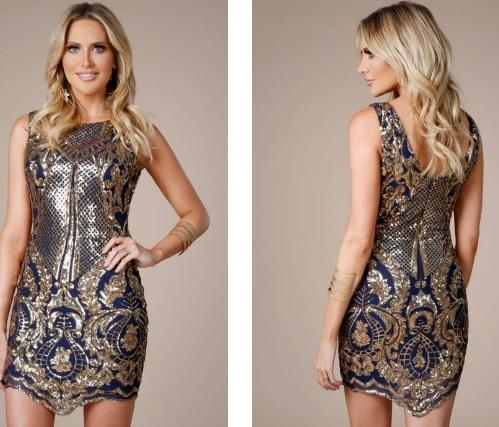 Navy & Gold Cocktail Dress - Gissings Boutique