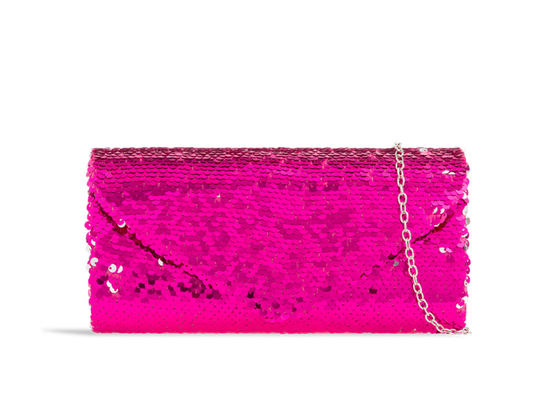 Fuchsia & Silver Sequin Evening Clutch Bag - Gissings Boutique