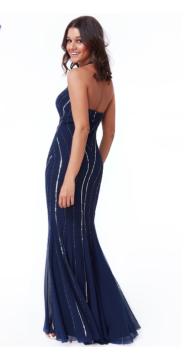 Navy Sequin Halterneck Gown