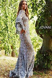 Jovani Lace Plunging Neckline Mermaid Dress - Gissings Boutique