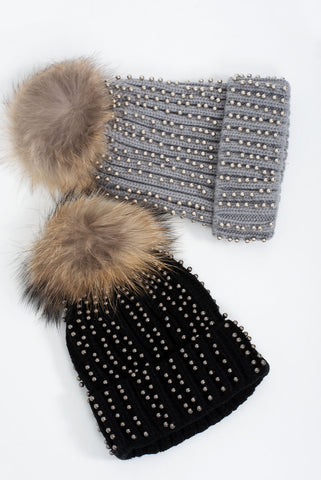 Crystal Studded Faux Fur Knitted Hat - Gissings Boutique