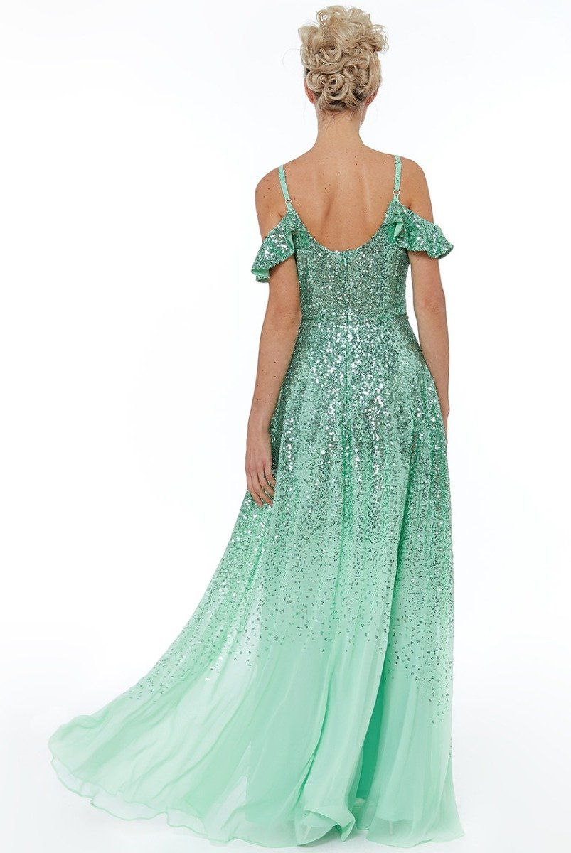 Mint Flutter Sleeve Sequin & Chiffon Gown - Gissings Boutique