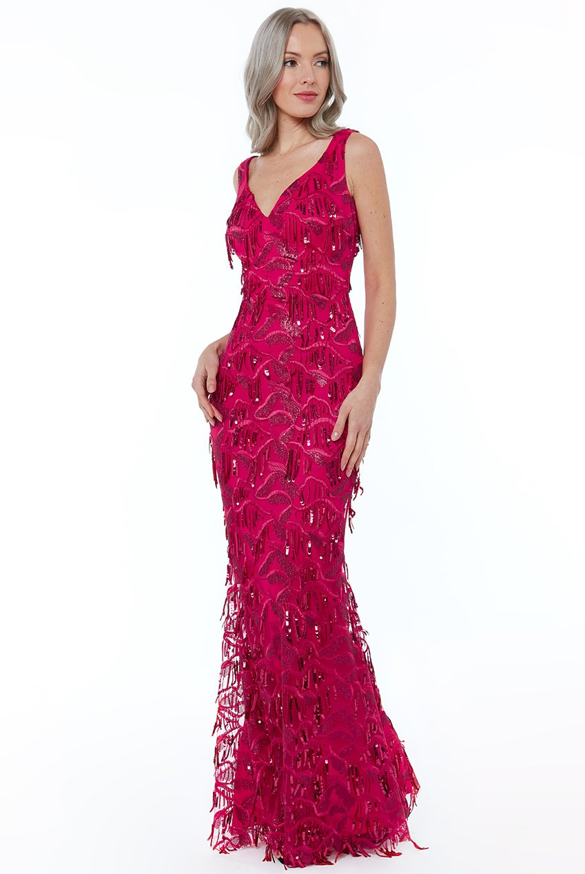 Flapper Cerise Sequin Fringe Gown