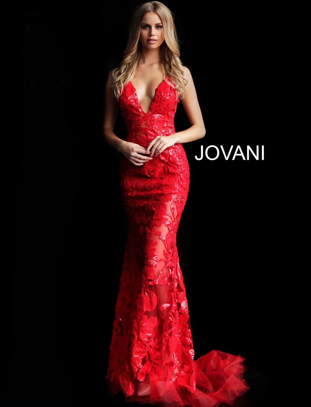 Jovani Red Lace Embellished Gown
