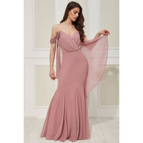 Rose Off The Shoulder Wing Back Chiffon Dress - Gissings Boutique
