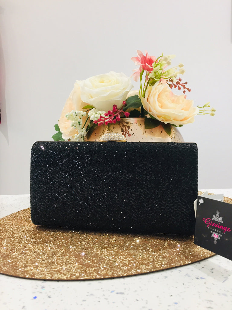 Black Glitter Evening Clutch Bag - Gissings Boutique