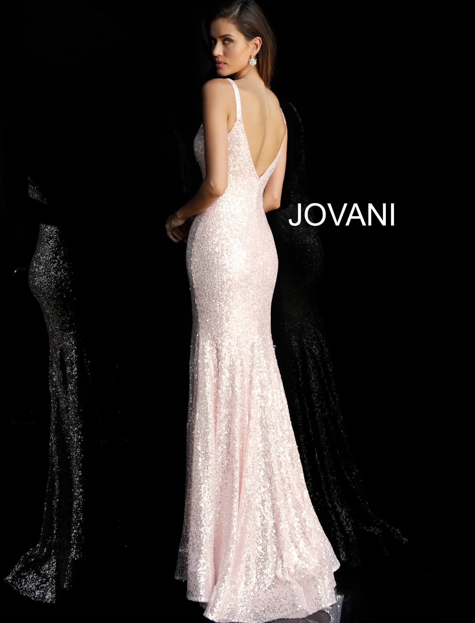 Jovani Blush Sequin Gown - Gissings Boutique