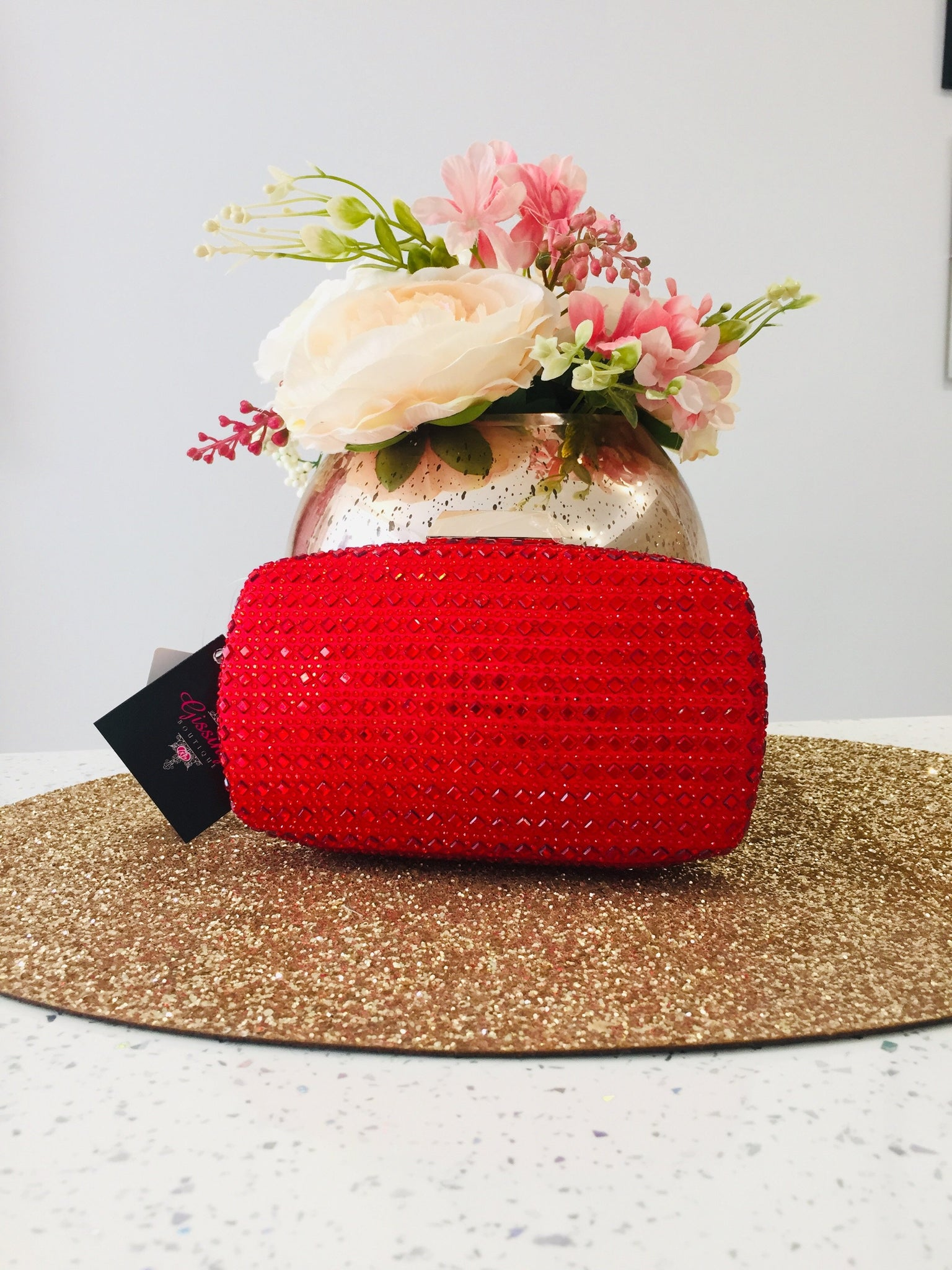 Red Crystal Embellished Evening Bag - Gissings Boutique