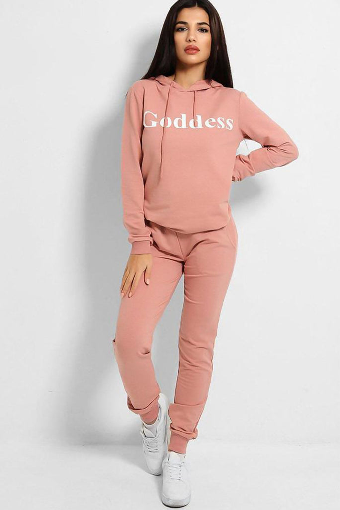 Plus Size Dusty Pink Goddess Hoodie Loungewear Set - Gissings Boutique