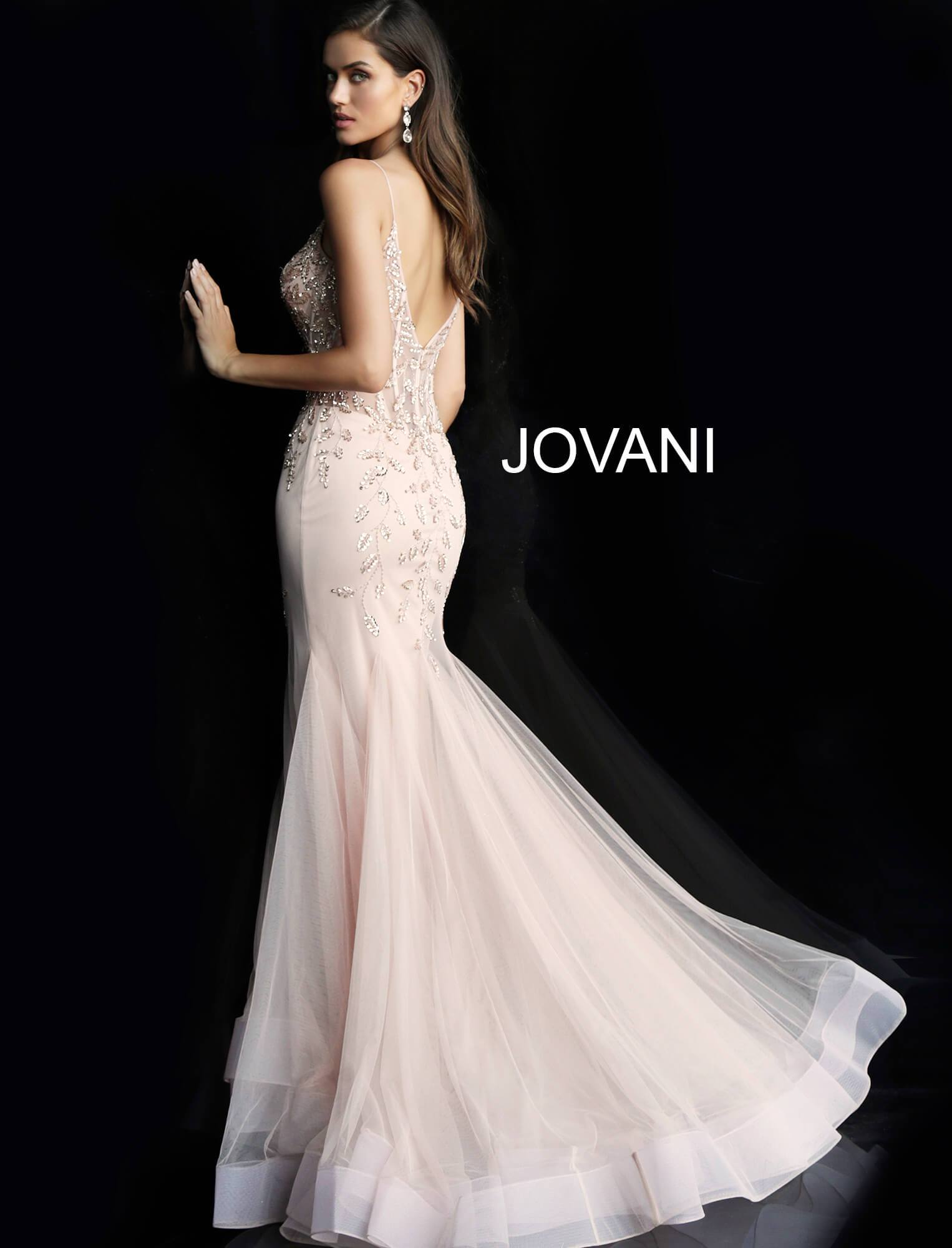 Jovani Blush Embellished Mermaid Gown - Gissings Boutique