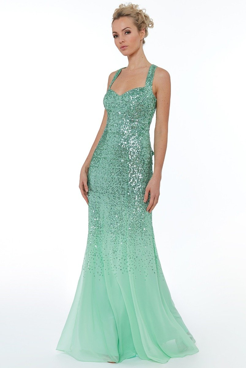 Mint Criss Cross Back Sequin Maxi Dress