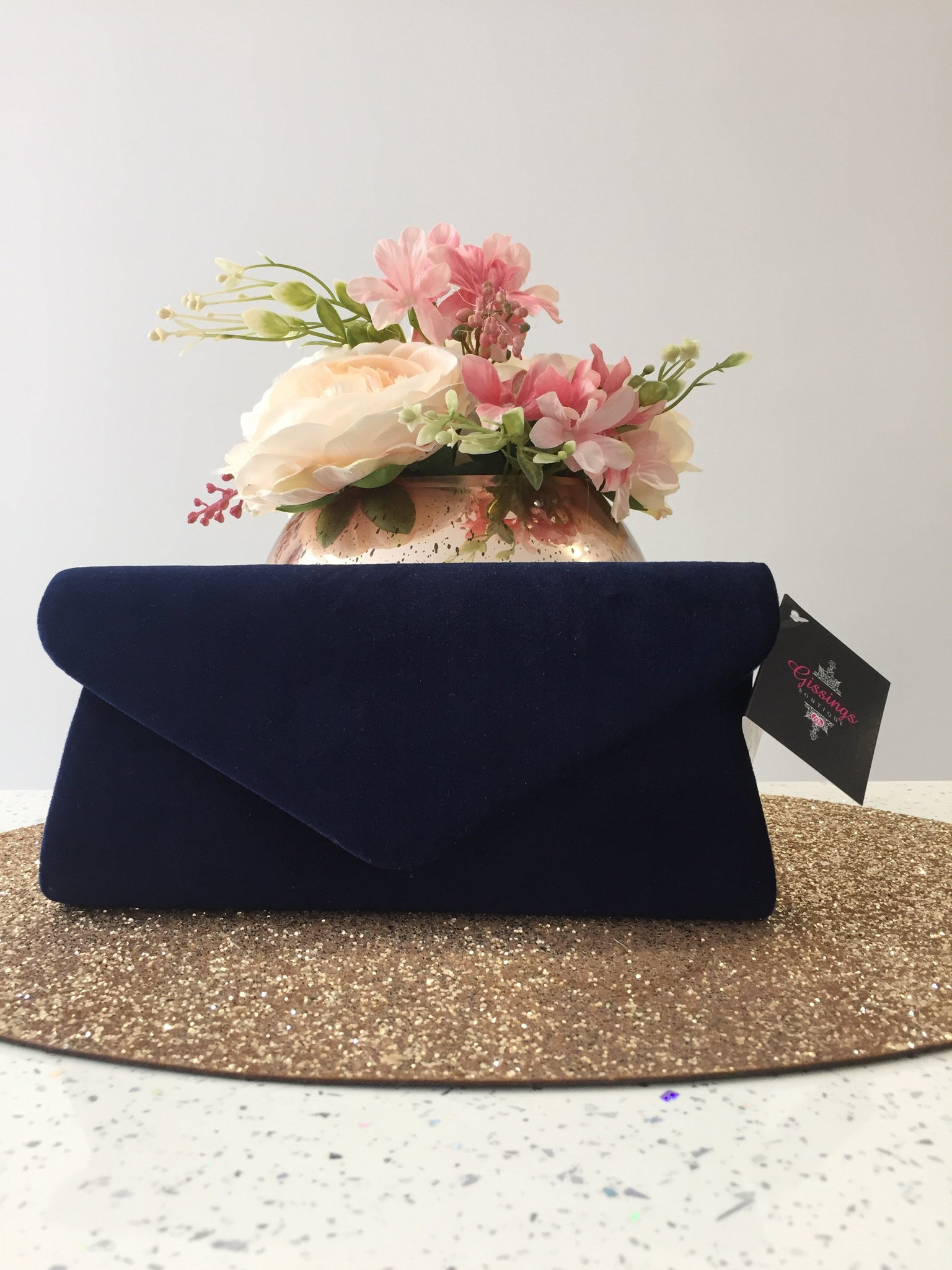 Navy Velvet Evening Clutch Bag