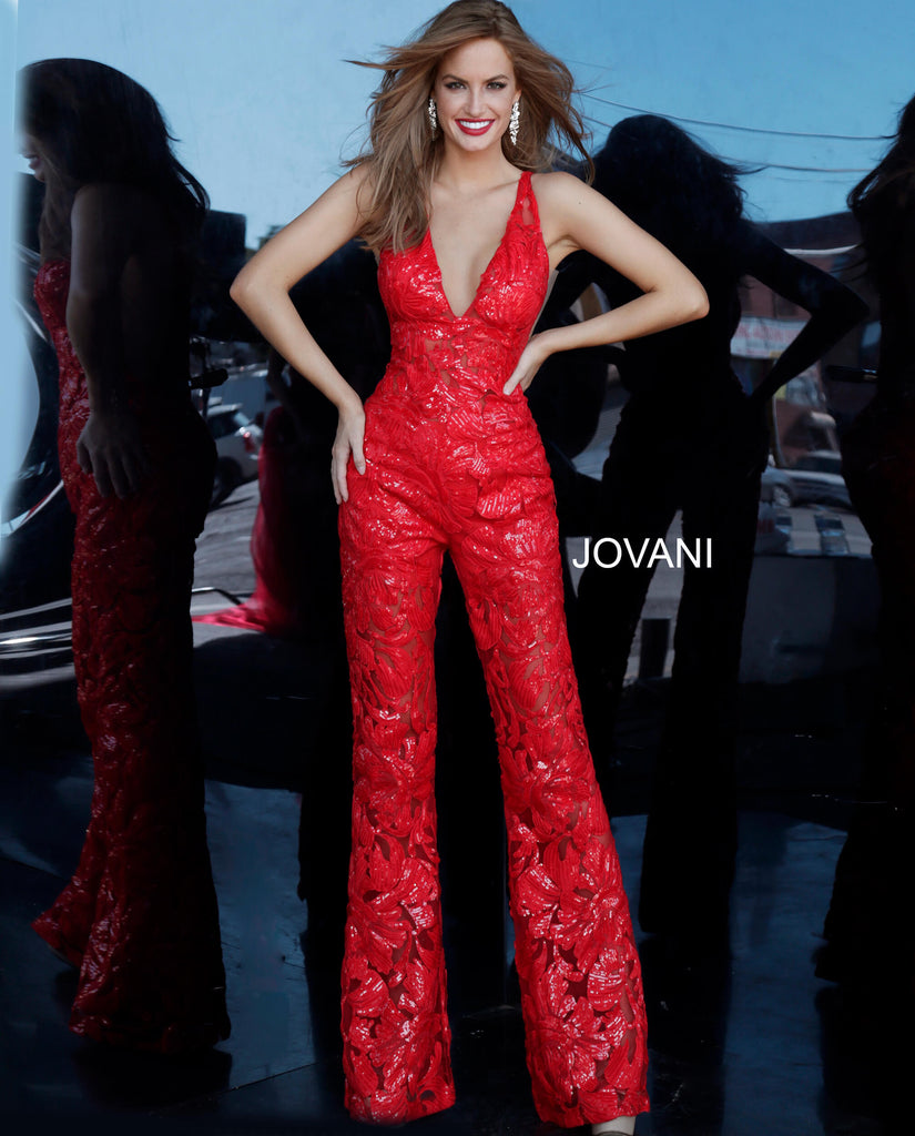 Jovani Red Sexy Lace Jumpsuit - Gissings Boutique