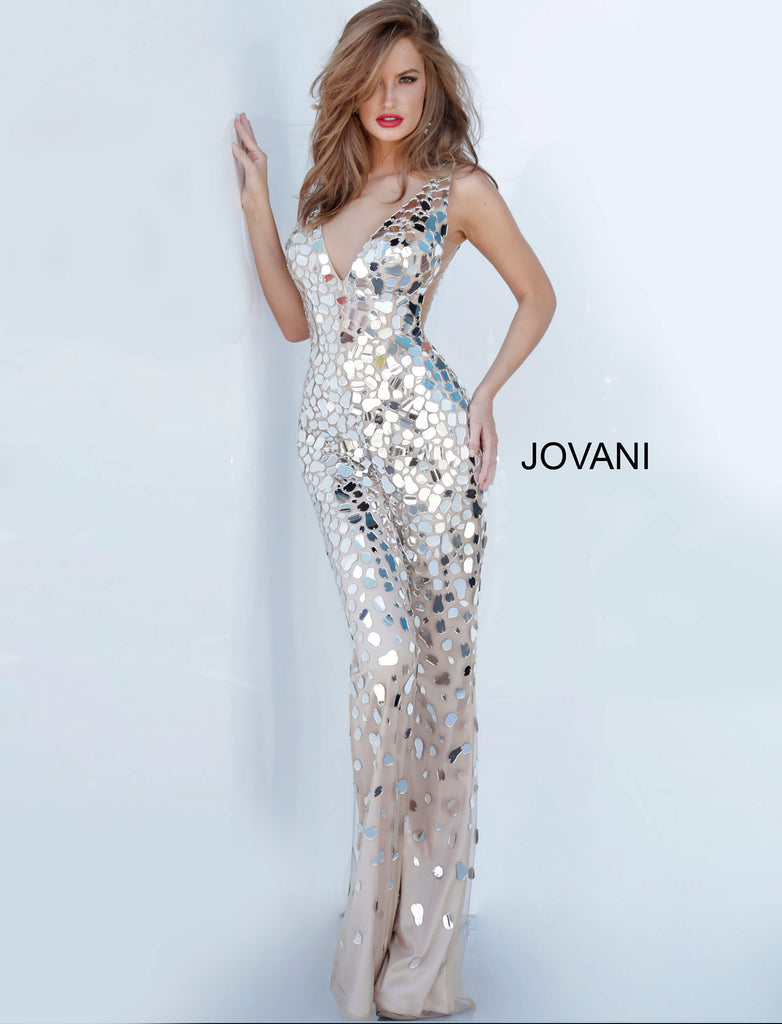Jovani Silver Embellished Jumpsuit - Gissings Boutique