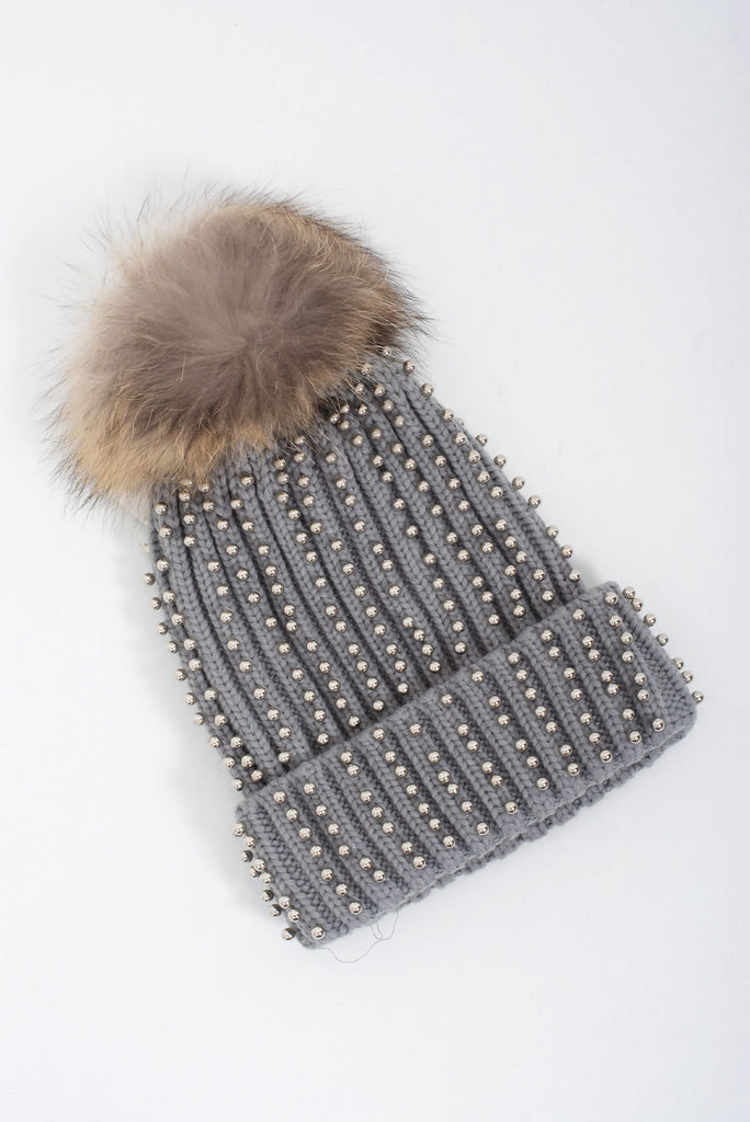 Silver Studded Faux Fur Knitted Hat - Gissings Boutique