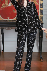 Black & White Long Sleeve Satin PJ - Gissings Boutique