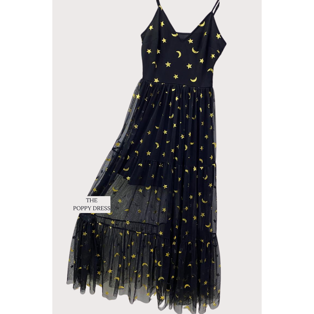 Black Tulle Gold Star & Moon Dress - Gissings Boutique