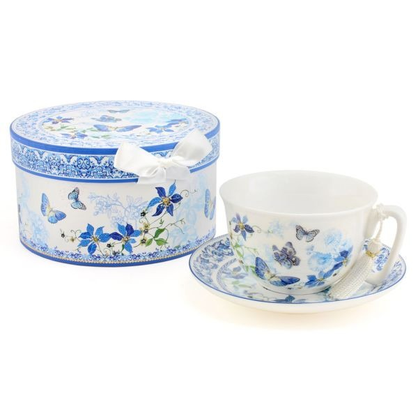 Butterfly Blue Cup & Saucer Mothers Day Gift Set - Gissings Boutique