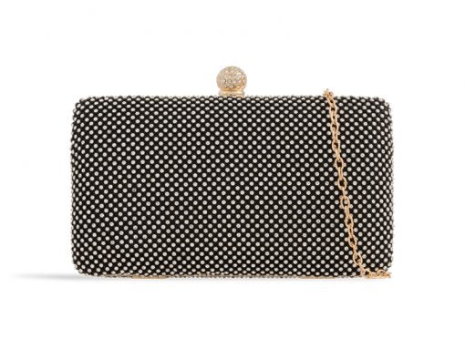 Black Crystal Studded Clutch Bag - Gissings Boutique