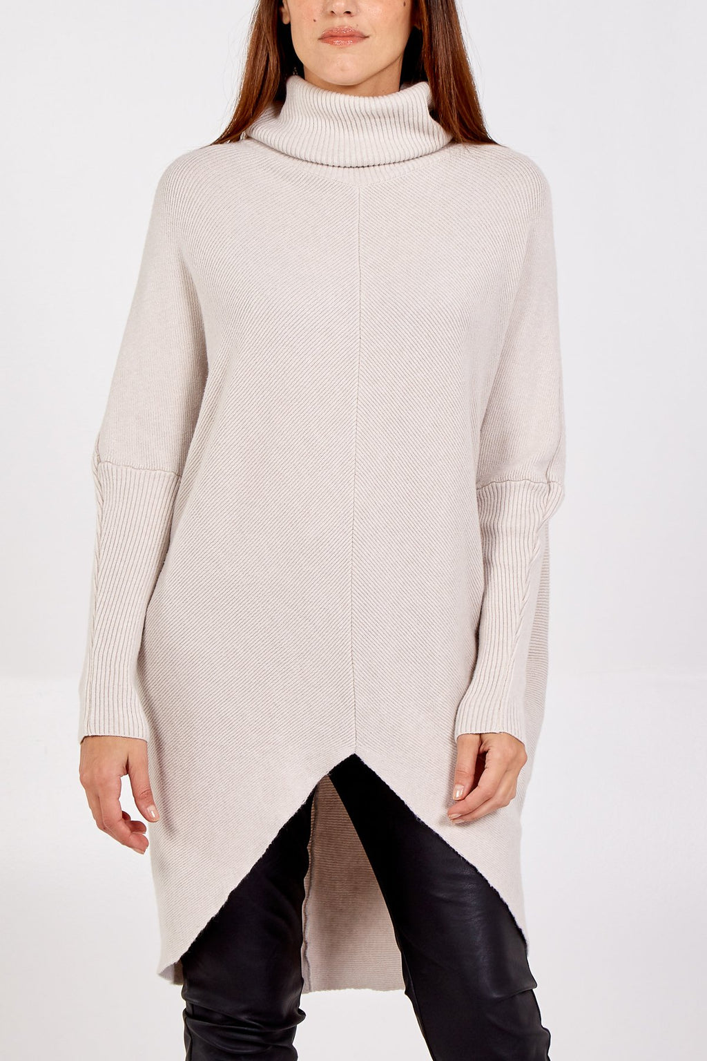 Soft Cream Roll Neck Jumper Dress - Gissings Boutique