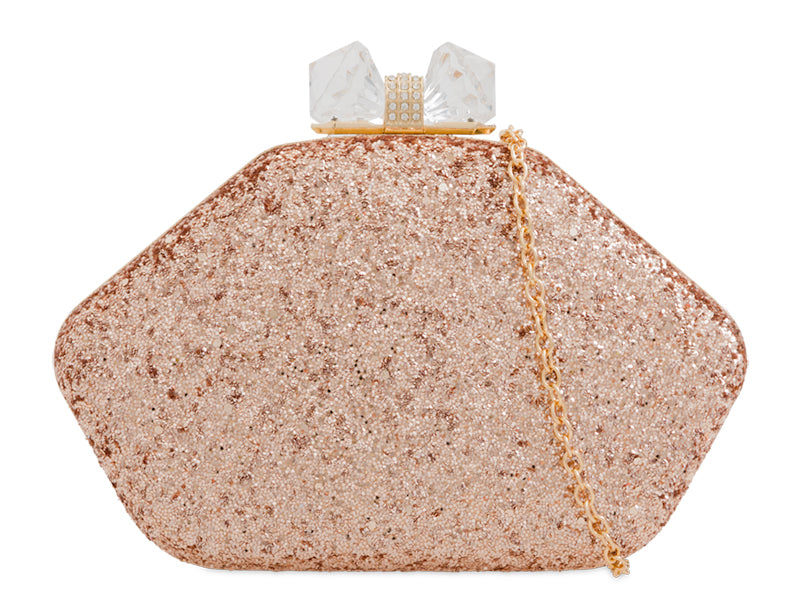 Champagne Glitter Clutch Bag - Gissings Boutique