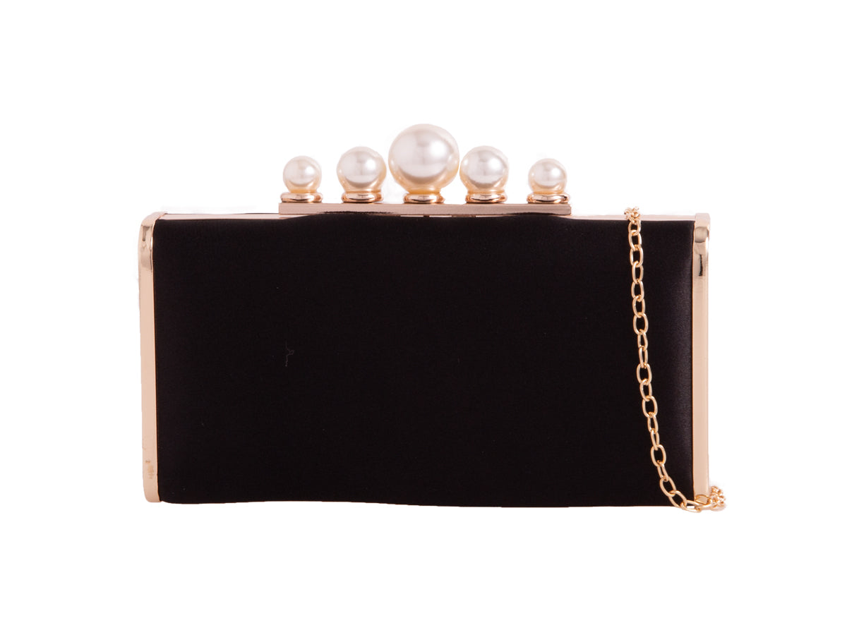 Satin Black & Pearl Clutch Bag - Gissings Boutique