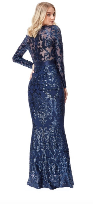 Navy Long Sleeve Sequin Evening Dress - Gissings Boutique