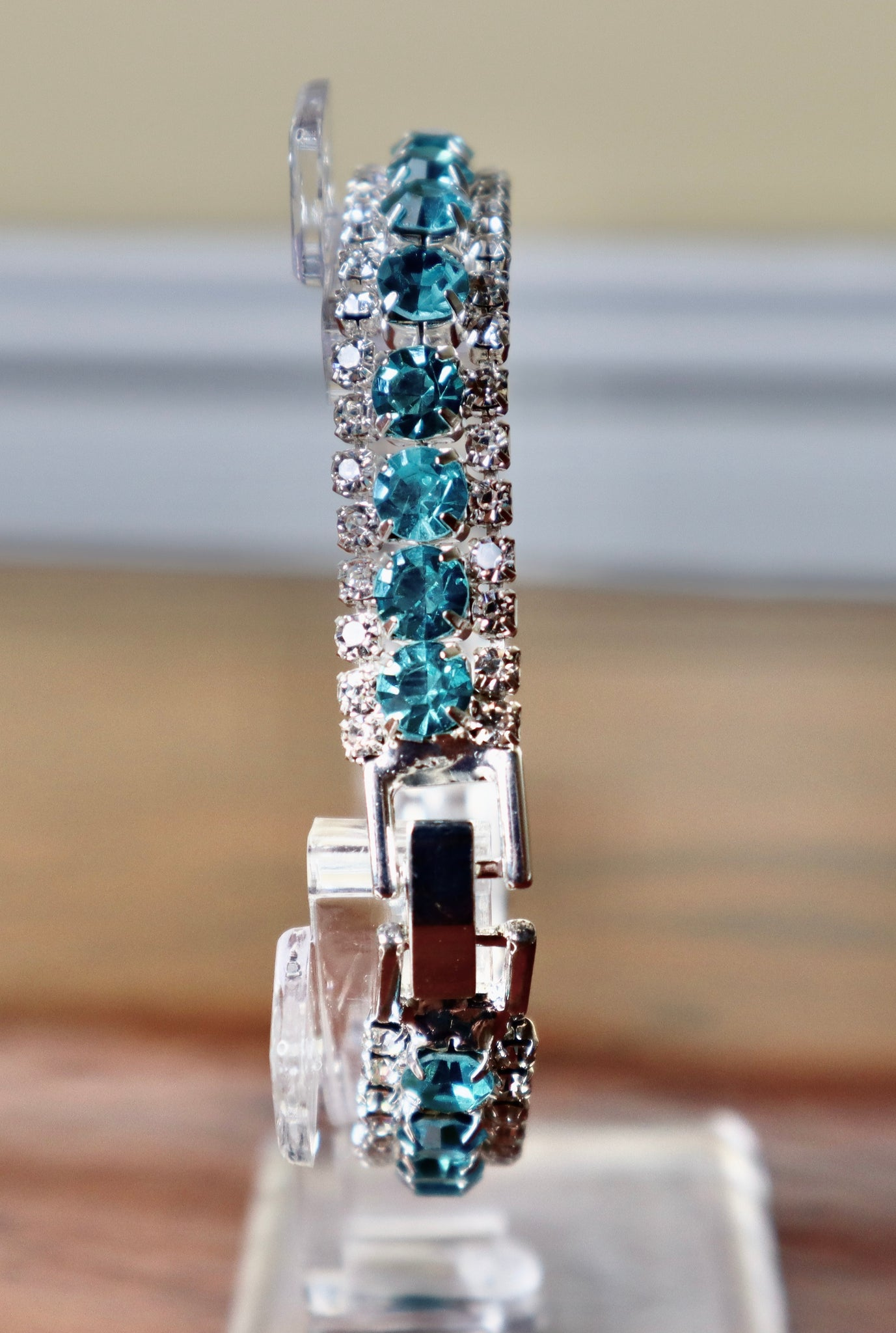 Clear & Turquoise Diamanté Bracelet - Gissings Boutique