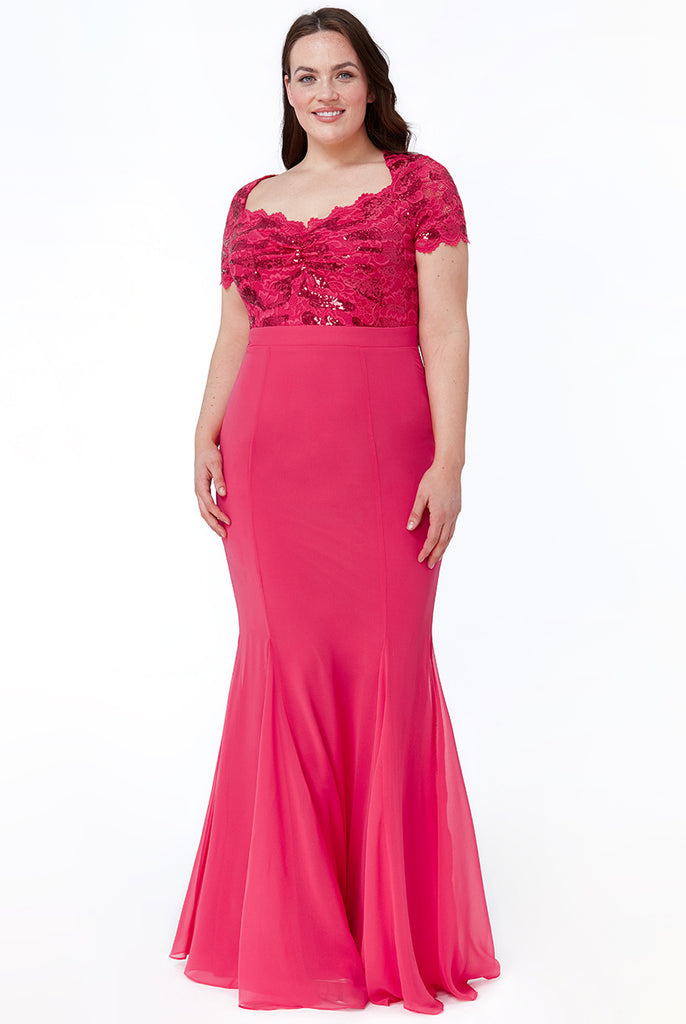 Plus Size Cerise Pink Lace Evening Gown - Gissings Boutique