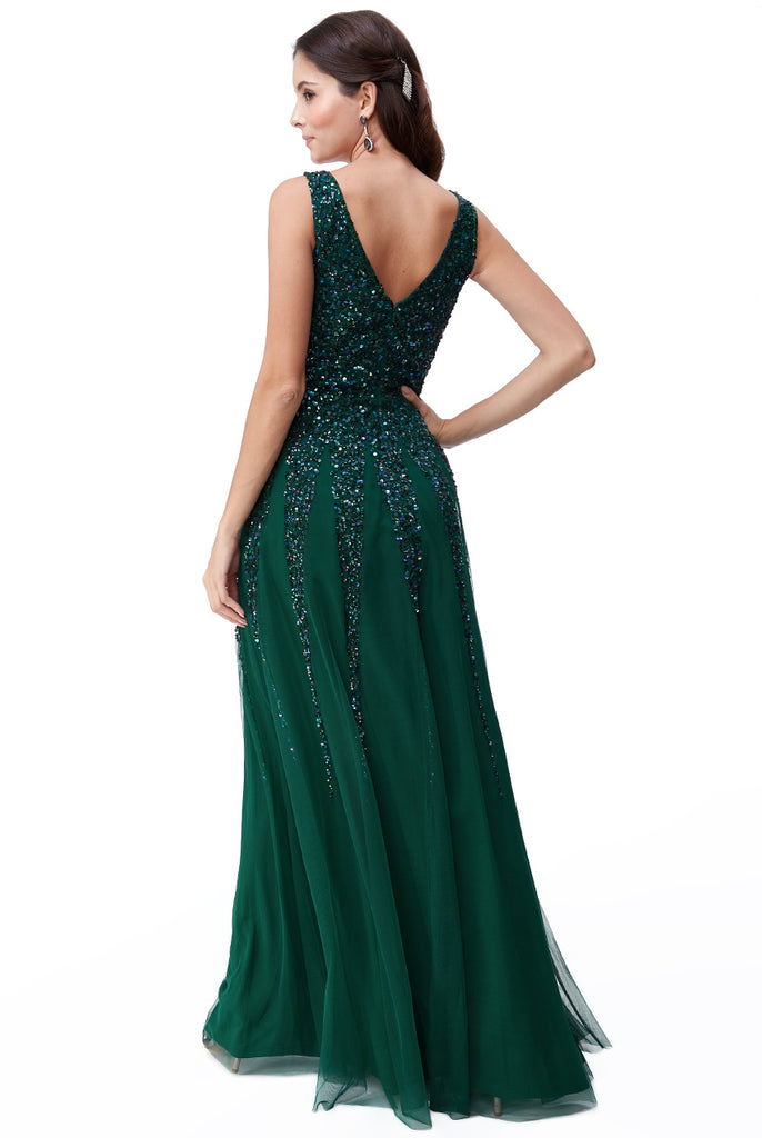 Emerald Sunray Sequin Evening Dress - Gissings Boutique