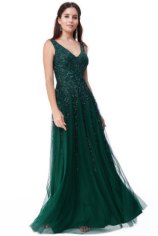 Emerald Sunray Sequin Evening Dress