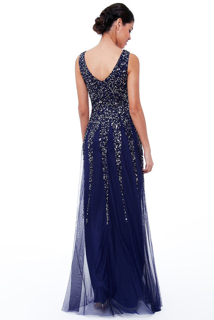 Navy Sunray Sequin Sequin Gown - Gissings Boutique